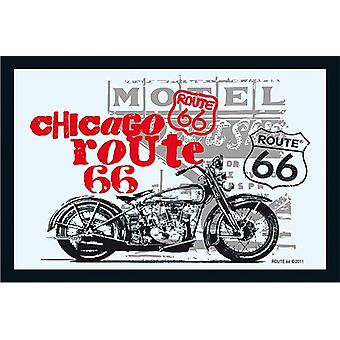 Route 66 mirror Chicago bike wall mirror with black plastic framing wood.