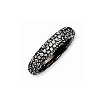 925 Sterling Silver Pave Polished Prong set Ruthenium plating Black Plated With CZ Cubic Zirconia Simulated Diamond Ring