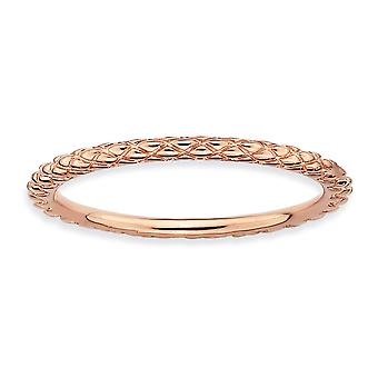 925 Sterling Silver Polished Patterned Stackable Expressions Pink plated Criss Cross Ring Jewelry Gifts for Women - Ring
