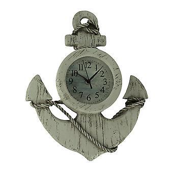 ホワイトの木目調仕上げ航海アンカー壁時計を不良