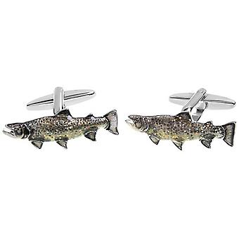 Zennor karper vissen Manchetknopen - bruin/zilver