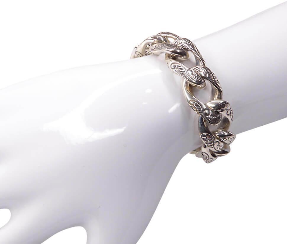 Zilveren armband met motief op schakel