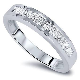 1 1 / 10ct Princess Cut kanaal instellen Diamond Ring 14K White Gold