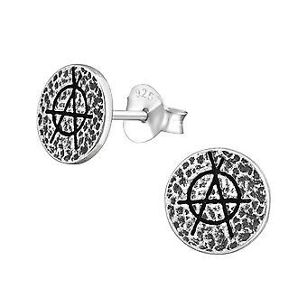 Anarchy - 925 Sterling Silver Plain Ear Studs - W36680x