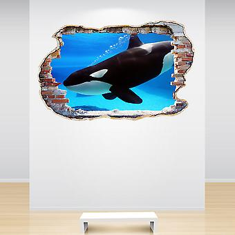 Full Colour Orca Whale Smashed Wall 3D Effect Wall Sticker