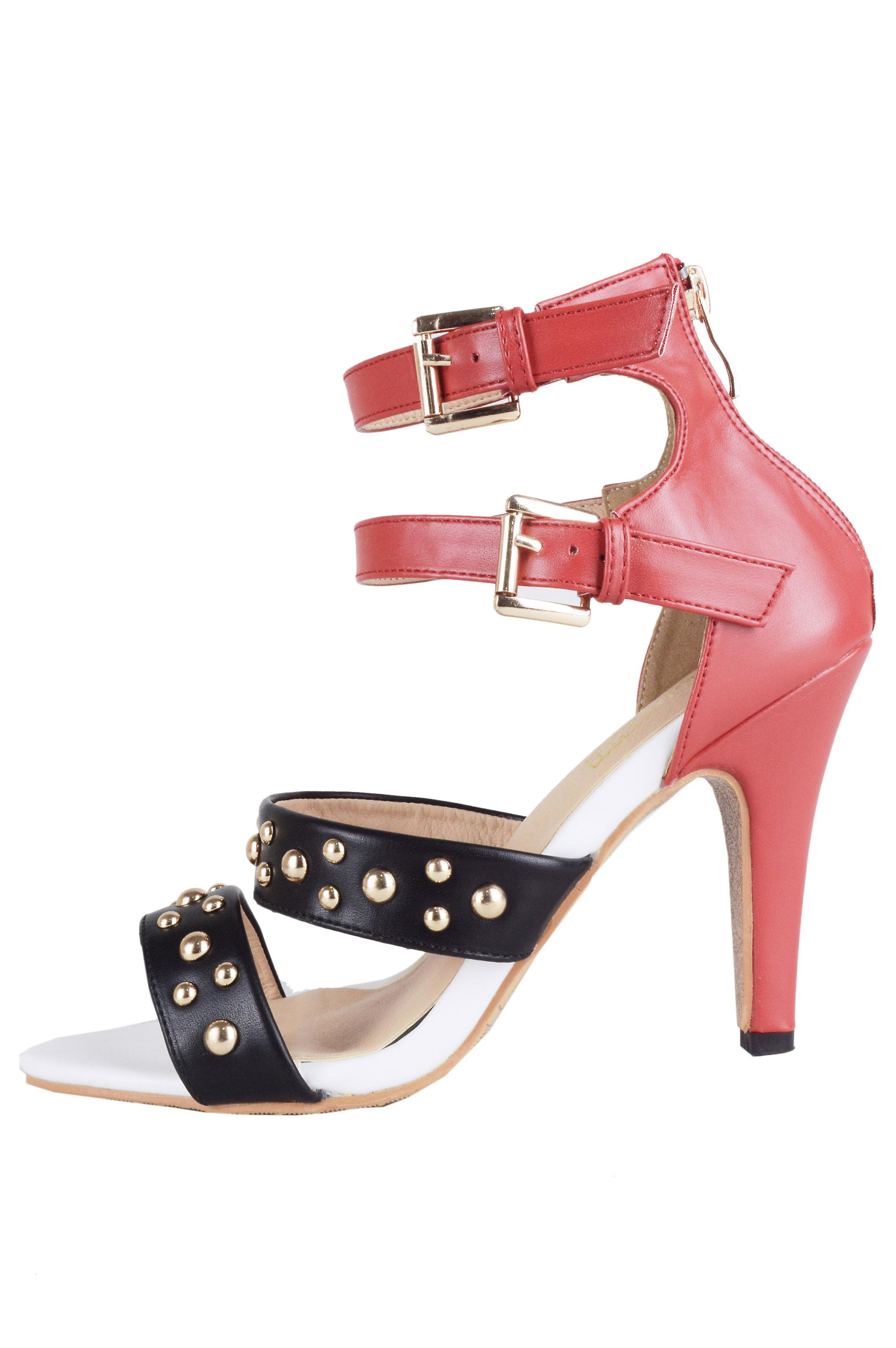 Lovemystyle Red, Black And White Studded High Heels