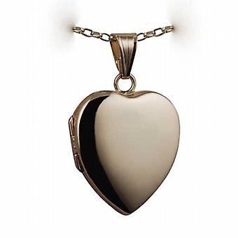 9ct Gold 24x20mm plain heart shaped Locket with a belcher Chain 24 inches
