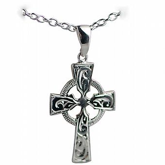 Silver 35x24mm hand engraved Celtic Cross with bail on a cable Chain 24 inches