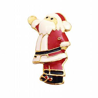 Whimsical Red Glittery Santa Clause Gold Brooch Pin Best Gift For Xmas