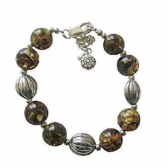 Olivin gult harpiks Beaded armbånd med Rhodium tradisjonelle armbånd