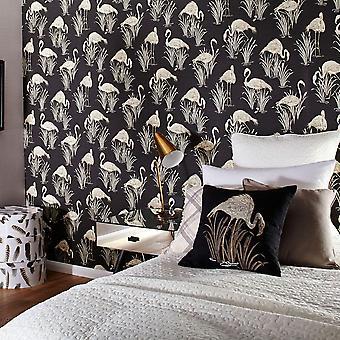 Flamingo Wallpaper vogels dieren tropische luxe textuur Vinyl lagune Arthouse
