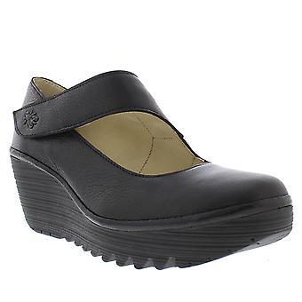Mujeres volar Londres Yasi Mousse cuero tacón de cuña cerrada del dedo del pie zapatos de oficina
