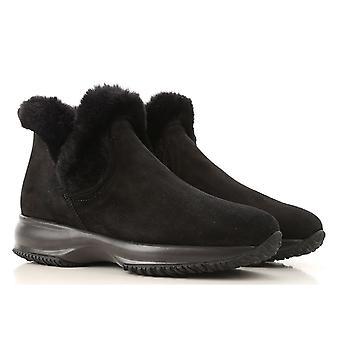 حذاء هوجان التفاعلي سليبون للنساء وحذاء أسود من جلد الغزال مع فرو