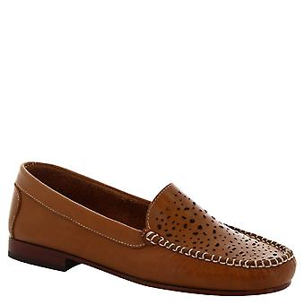 Leonardo Shoes Women's handmade slip-on moccassins in openwork tan calf leather