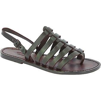 Womens bruin lederen thong sandalen handgemaakt in Italië