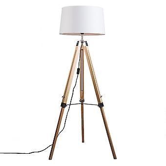 QA-QA lampada da terra naturale con tonalità di lino bianco 45 cm - Treppiede