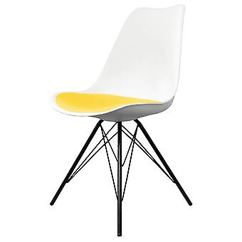 Fusion Living Eiffel Inspired White And Yellow Dining Chair With Black Metal Legs