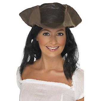 Pirate hat met pruik hoed en haar piraat kostuum piraat