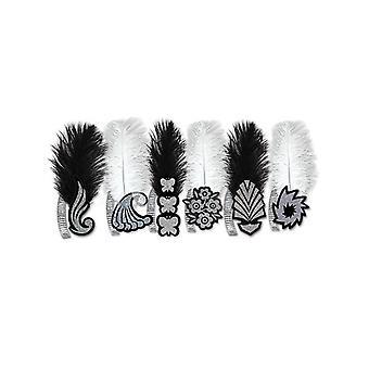 Locos años 20 Tiaras de papel brillo blanco o negro con pluma de avestruz