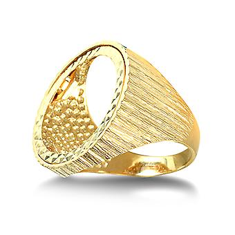 Jewelco London Men's Solid 9ct Yellow Gold Ribbed Barked Full Sovereign Mount Ring