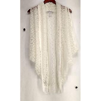 Meghan Fabulous Shawl Collar Open Front Fringed Ivory Vest A217239