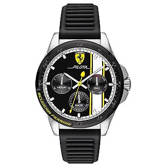 Scuderia Ferrari | Men's Pilota | Black Rubber Strap | Black Chronograph Dial 0830659 Watch