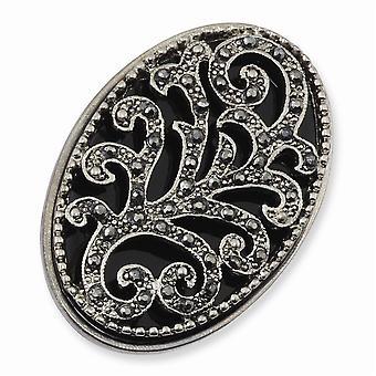 Silver ton svart kristall och Emalj Stretch Ring Smycken Gåvor för kvinnor