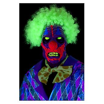 Mens UV Black Light Clown Mask with Hair Fancy Dress Accessory