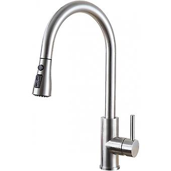 Satin Stain Less Steel Tray Mixer With Pullable Shower