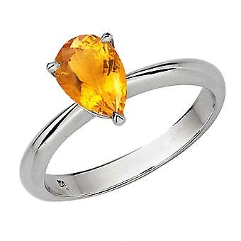 Dazzlingrock Collection 18K 8X6mm Round Cut Citrine Solitaire Bridal Engagement Ring, White Gold