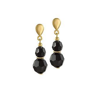 Eeuwige collectie Echo Jet Black Crystal Gold Tone drop schroef terug clip op oorbellen