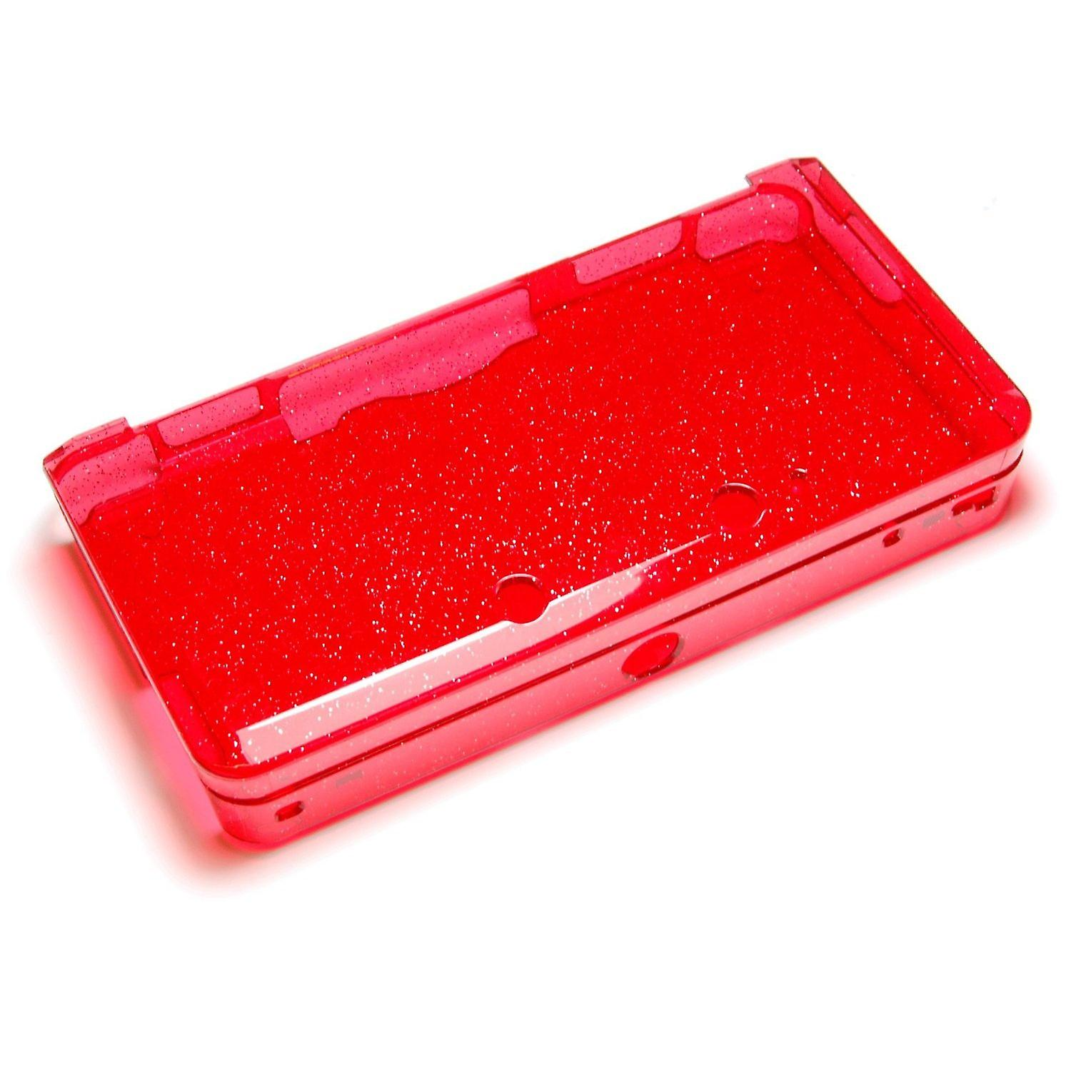 Glitter crystal case for nintendo 3ds (old 2012 model) - protective hard armor cover shell - red