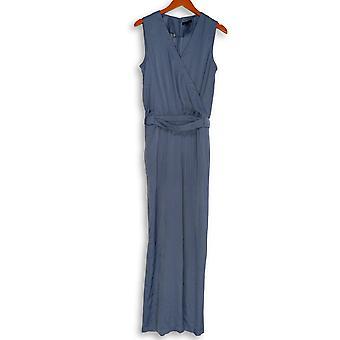 H by Halston Jumpsuits V Neck Charmeuse Sleeveless Blue A274563