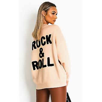 IKRUSH Femmes Amy Rock Slogan Jumper