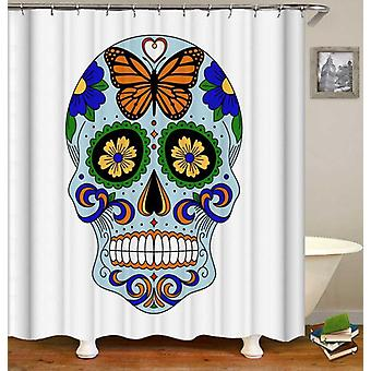 Fresh Light Blue Sugar Skull Shower Curtain