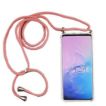 سلسلة الهاتف لسامسونج غالاكسي S10 - الهاتف الذكي قلادة القضية مع الشريط - الحبل مع حالة معلقة في الوردي