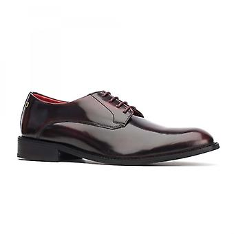 Base London bexley menns polert Leather Derby Lace ups bordo
