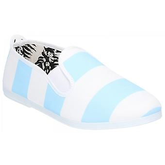 Flossy Urpia Ladies Canvas Slip On Plimsolls Light Blue