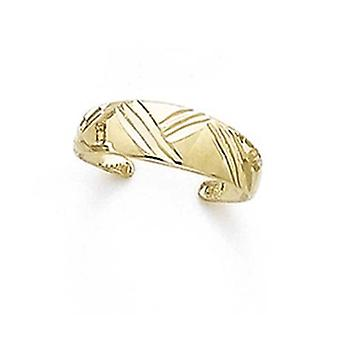14k Yellow Gold Domed Sparkle Cut Xs Toe Ring Jewelry Gifts for Women - 1.1 Grams
