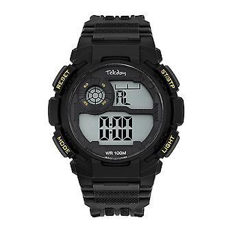 Tekday Watch 655973 - Silicone Black Box Bracelet Silicone Black Men