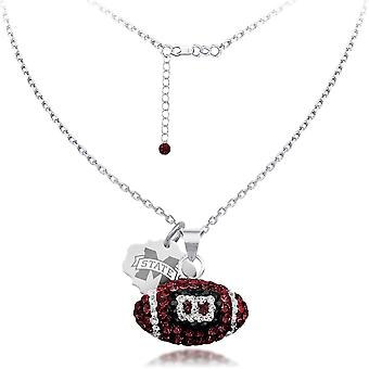 925 Sterling Silver Rhodium Plated Spirit Football Necklace Mississippi St University 18 Inch Jewelry Gifts for Women