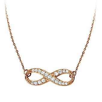 925 Sterling Silber Rose vergoldet Seite Wege Mini Infinity CZ Zirkonia simuliert Diamant verstellbare Halskette 18 Zoll