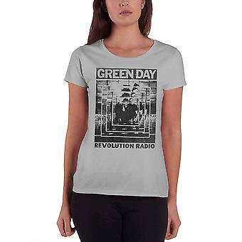 Green Day T Shirt Revolution Radio Power Shot Official Womens Skinny Fit Grey