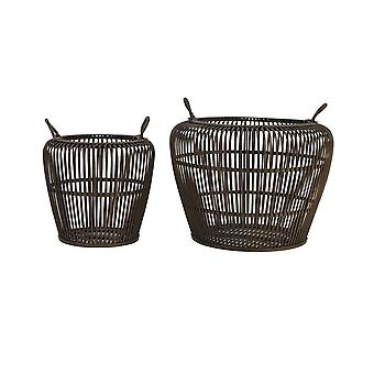 Light & Living Basket Set Of 2 30x28 And 45x35cm Kahyl Bamboo Brown