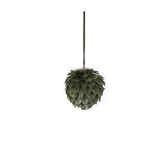 Lys & Levende Jul Bauble 11x11cm Plume Grønn