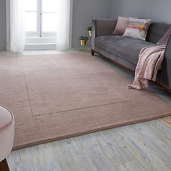 Tuscany Siena Textured Modern Border Rugs In Blush Pink