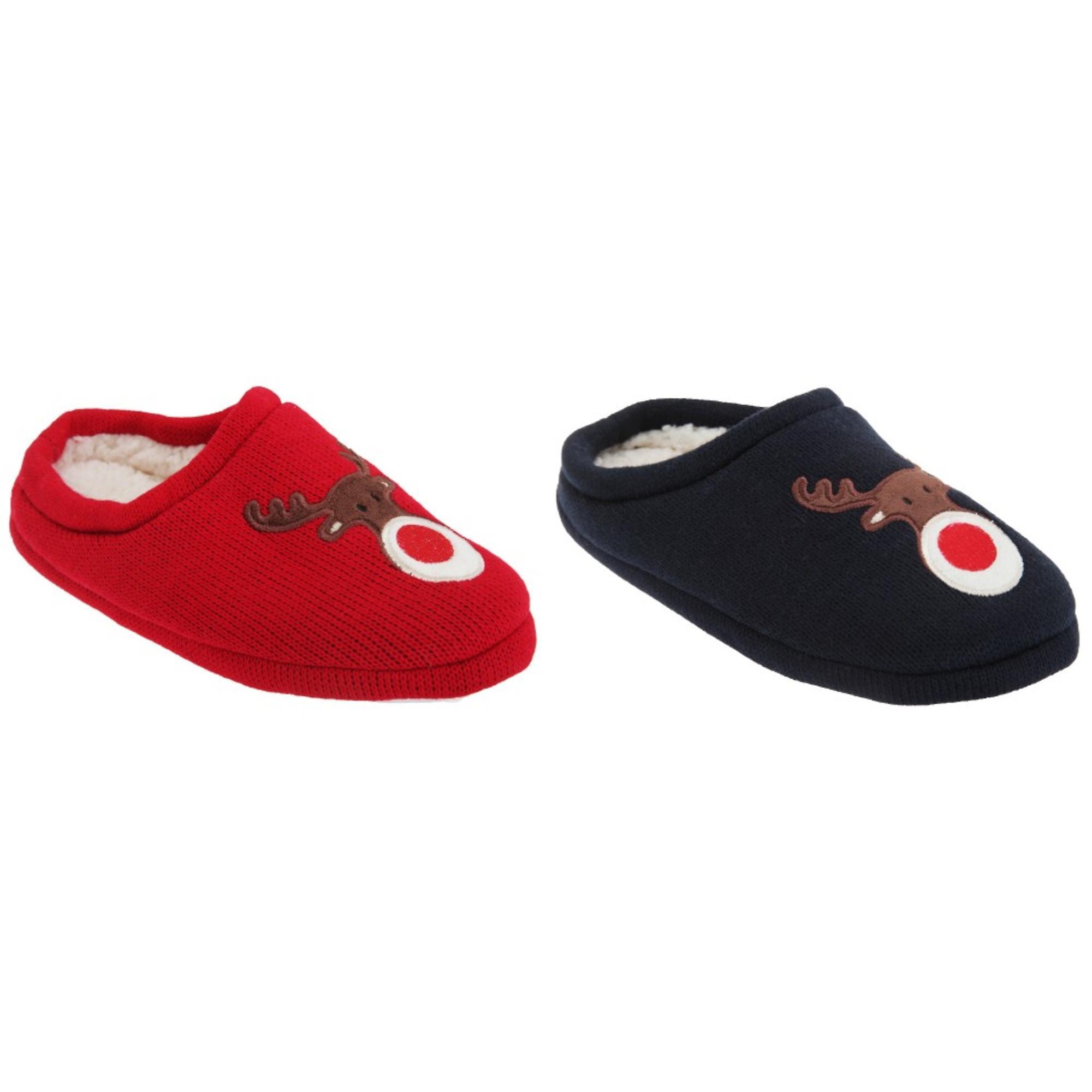 Womens/Ladies Christmas Rudolph Mule Slippers 1Xw5Y