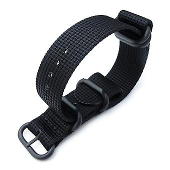 Strapcode n.a.t.o watch strap miltat 20mm, 22mm or 24mm 5 rings g10 zulu water repellent 3d nylon, matte black, pvd black
