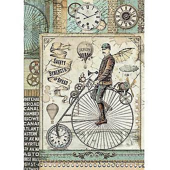 Stamperia Reis Papier Blatt A4-Voyages Fantastiques Retro Fahrrad
