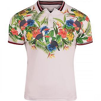 Brave Soul Mens Tropische Bloemen Print Zomer Polo T Shirt Beach Toucan Bird Wildlife